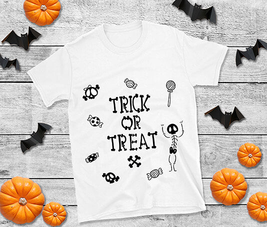 adorable trick or treat halloween t shirt with bones and sweets