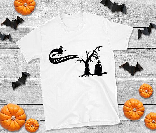 White T-Shirt Halloween with witch and tree