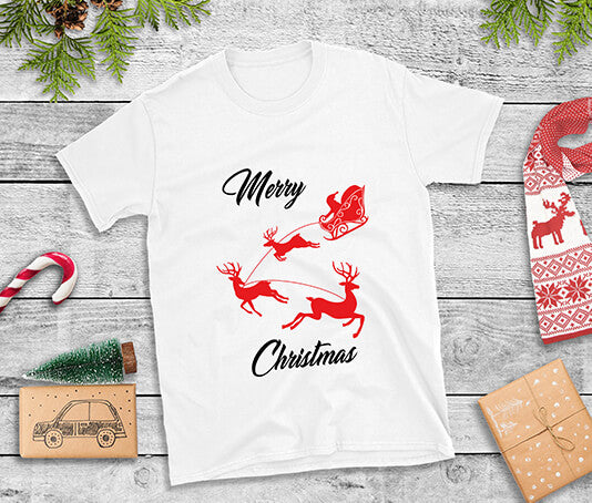 womens christmas t shirts merry christmas with santa on sleigh with reindeer