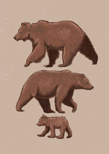 A digitally illustrated drawing of the Three Bears full of texture and details. Inspired by the famous fairytale of the 3 bears this illustration is a piece that has been carefully crafted to give a warm, friendly feel.