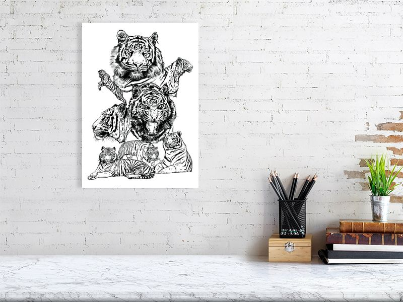 A collection of wildlife prints using brush pens to capture the personality, detail and poses.