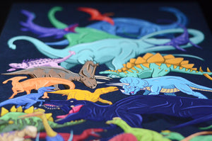 A digitally illustrated series of Dinosaurs using bright, bold and vibrant colours.