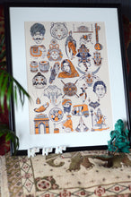 Load image into Gallery viewer, A collection of treasures from India celebrated in a signature bright orange with contrasted navy blue line work.