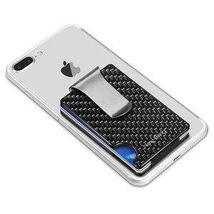 Minimalist Carbon Fiber Card Holder with Money Clip (Black)