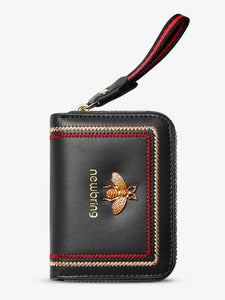 Genuine Leather RFID Business Card Holder Purse with Lanyard(Black)