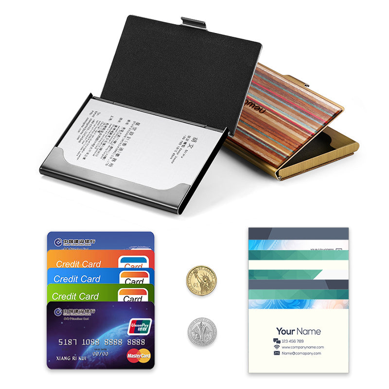 Colorful Wooden Pocket Business Card Case Wallet (Sakura)