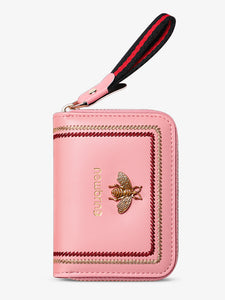 Genuine Leather RFID Business Card Holder Purse with Lanyard(Pink)