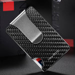 Load image into Gallery viewer, Minimalist Carbon Fiber Card Holder with Money Clip (Silver)