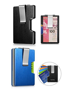 Minimalist RFID Blocking Card Holder with Money Clip (Blue)