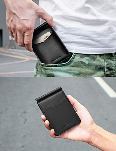 Front Pocket Card Holder with Money Clip and ID Window (Black)
