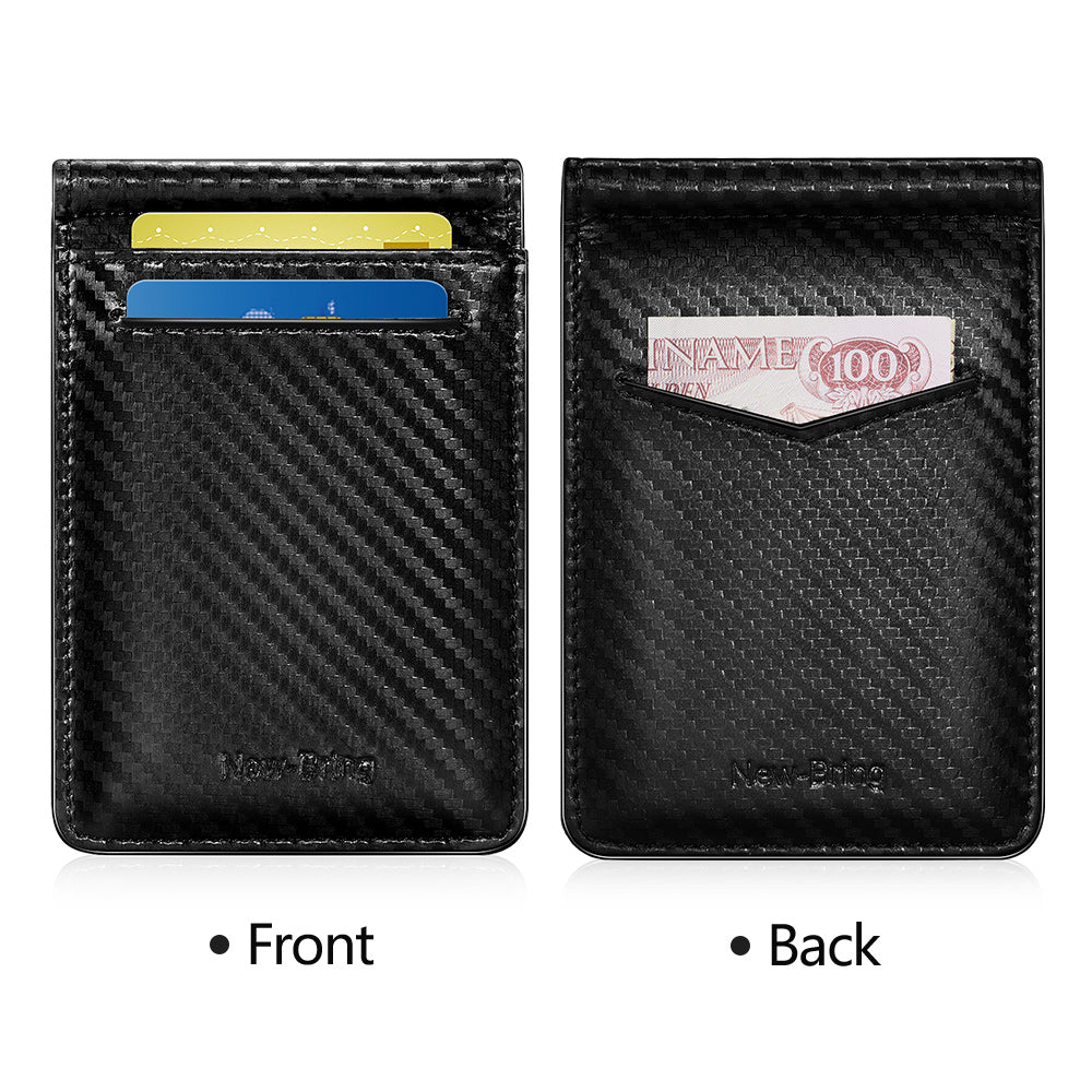 Front Pocket Card Holder with Money Clip and ID Window (Carbon Fiber)