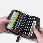 Load image into Gallery viewer, Genuine Leather Multi Card Organizer with Zipper (Black)