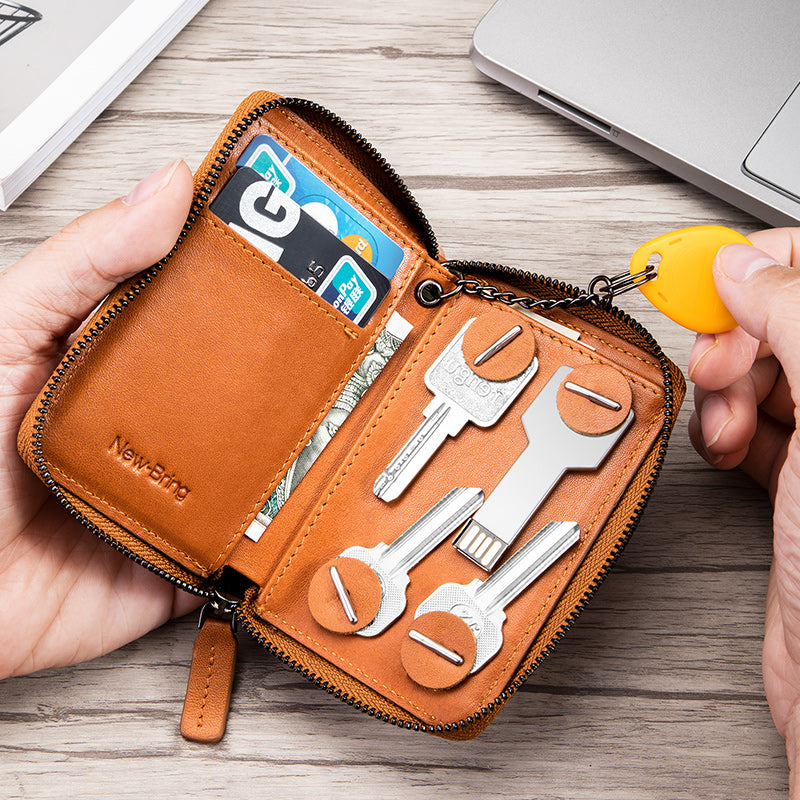 New-Bring Leather Smart Waterproof Key Case Wallets Card Holder Organizer for Men and Women, Orange