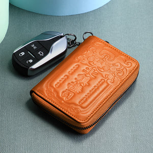 Leather Card Holder&Key Organizer Wallets (Blue)