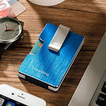 Load image into Gallery viewer, Minimalist RFID Blocking Card Holder with Money Clip (Blue)