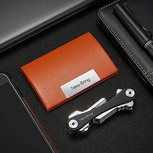 Leather Cover Business Card Holder (Orange)