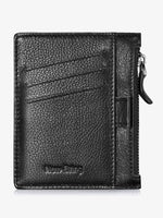 Load image into Gallery viewer, Leather Slim Card Case With Zipper&Money Clip&Pull Tub (Black)