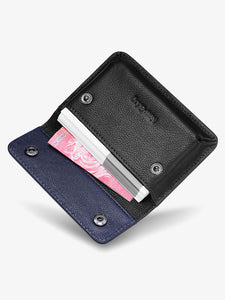 New-Bring Leather Front Pocket Card Case (Black)