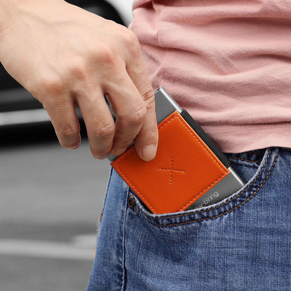 Auto Pop-Up Aluminium Credit Card Holder (Orange)