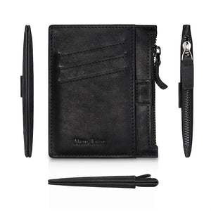 Leather Slim Card Case With Zipper&Money Clip&Pull Tub (Black)