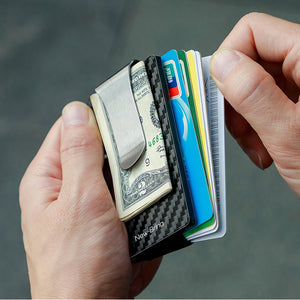 Minimalist Carbon Fiber Card Holder with Money Clip (Silver)