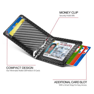 Card Holder with Money Clip and ID Window (Carbon Fiber)