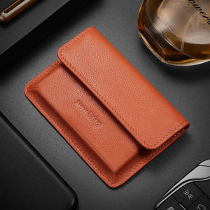New-Bring Leather Front Pocket Card Case (Orange)