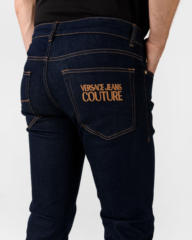 Navy Stretch Jean with Gold Logo
