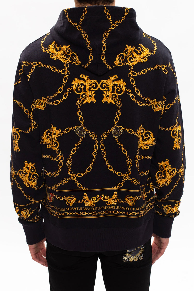 Black and Gold Chain Print Hoodie