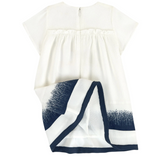 White Silk Baby Doll Dress with Navy Detail