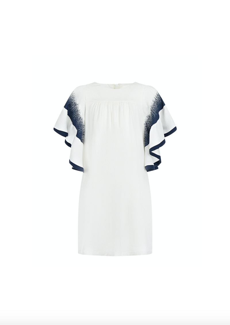 White Silk Ruffled Sleeve Dress with Navy Detailing