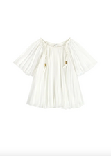 White Pleated Blouse with Gold Detailing