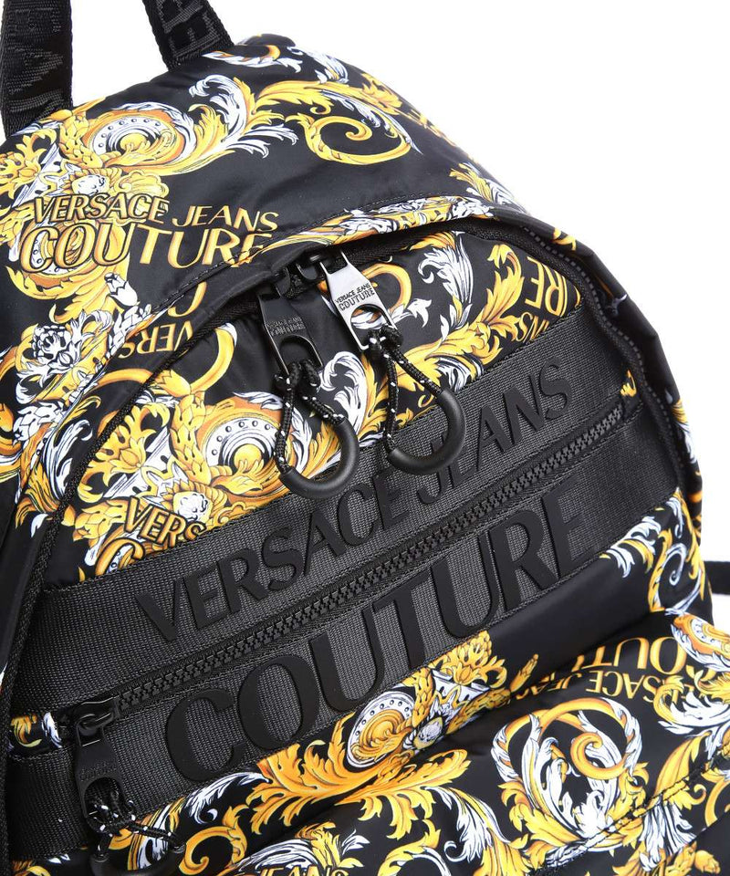 Black and Gold Baroque Printed Backpack