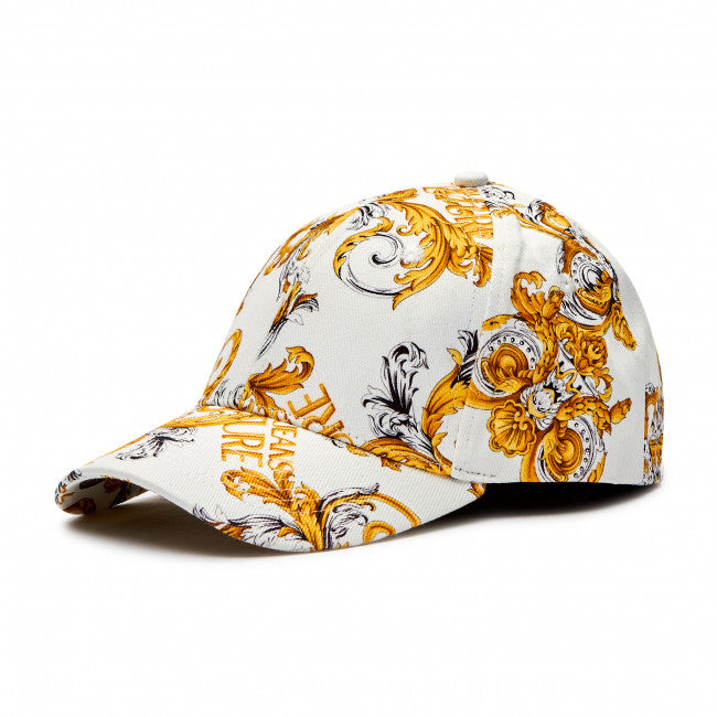White and Gold Print Cap