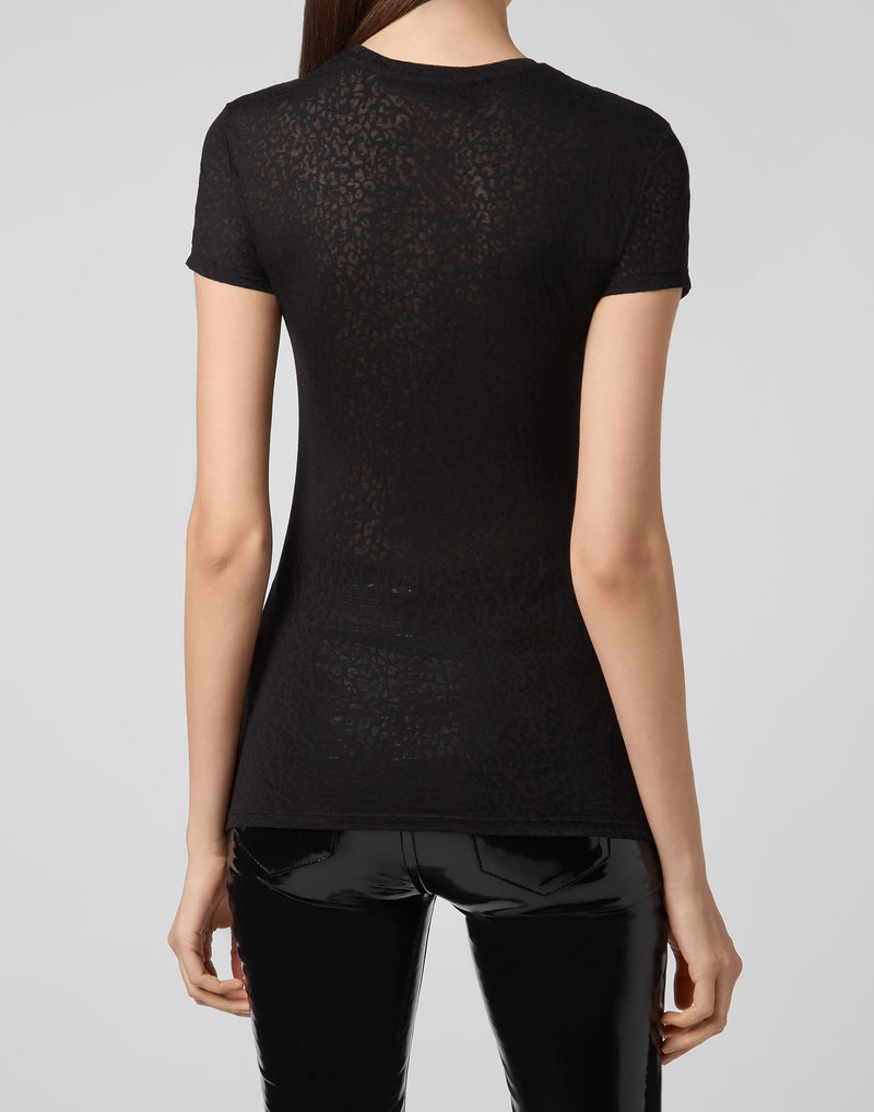 Black Patterned T-Shirt with Crystal Signature