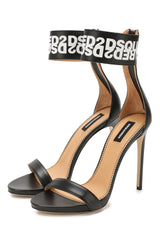Black White DSQ2 Ankle Strap Stiletto