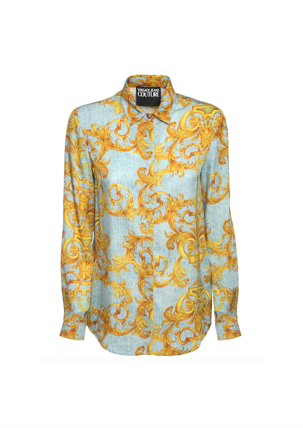 Light Blue and Yellow Baroque Button Up Shirt