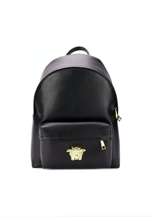 Black Leather Backpack with Medusa