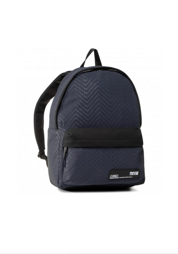 Black and Navy Printed Backpack