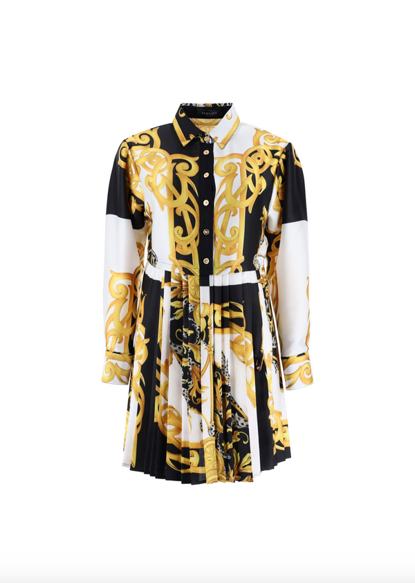 Baroque Patterned Pleated Dress