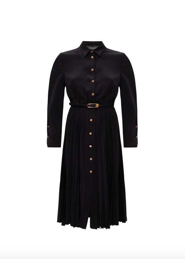 Black Pleated Gold Button Dress