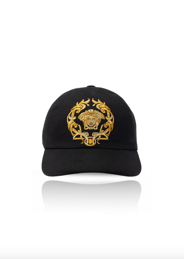Black and Gold Embroidery Medusa Cap