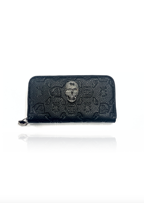 Black Leather L-zip Around Embossed Monogram Wallet