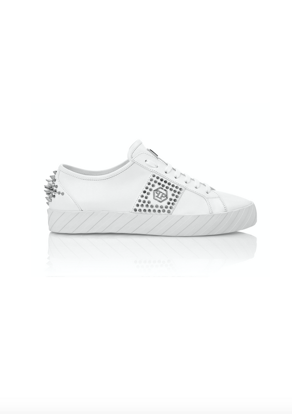 White Lo-Top Sneakers with Silver Studs