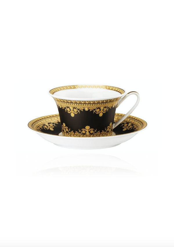 Baroque Nero Tea Cup and Saucer Set