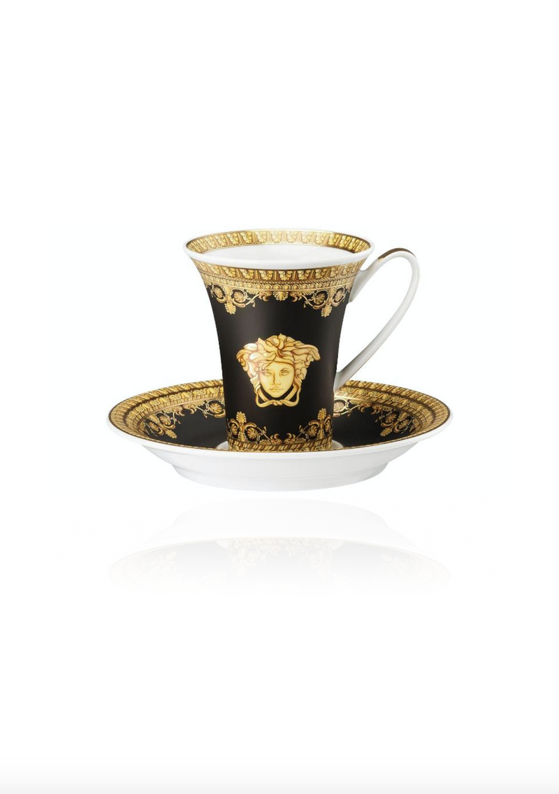 Baroque Nero Espresso Cup and Saucer Set