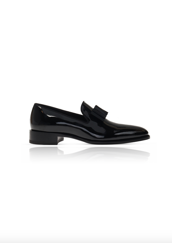 Black Patent Slip On with Bow