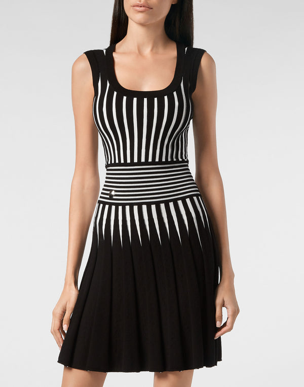 Knit Dress Intarsia Stripes