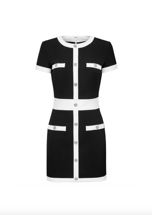 Cady Black and White Short Dress
