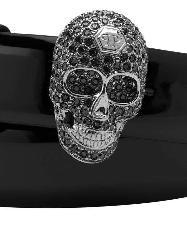 Patent Leather Skull Belt